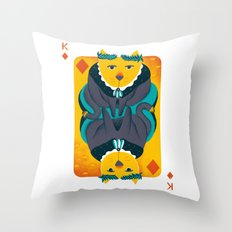 Cat the King of Diamonds Throw Pillow