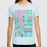 Pink, Blue & Green Womens Fitted Tee Light Blue SMALL