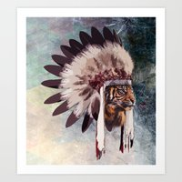 Tiger in war bonnet Art Print