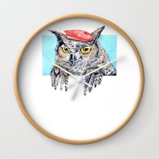 Serious Horned Owl in Red Beret  Wall Clock