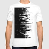 Concrete Fringe Black on Side Mens Fitted Tee White SMALL