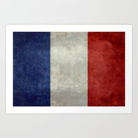 Flag Of France, Vintage … Art Print