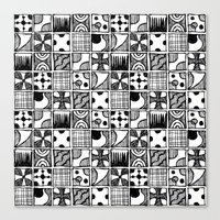Black and White Abstract Squares Canvas Print