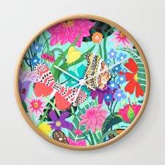 Butterflies and Moths Pattern - Blue Wall Clock