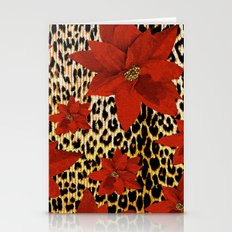 Animal Print Leopard and Red Poinsettia Stationery Cards