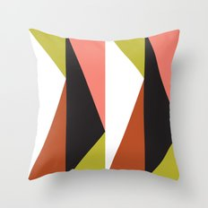 Pink, lime black triangle pattern (2015) Throw Pillow