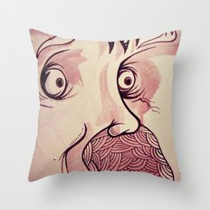 In Your Face Mr. Moustache Throw Pillow