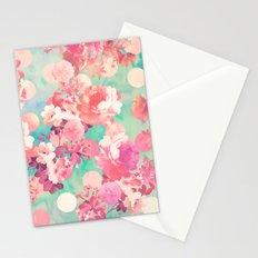 Romantic Pink Retro Floral Pattern Teal Polka Dots  Stationery Cards