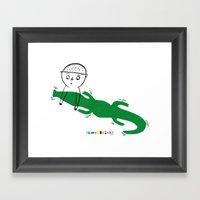 Crocodile Float Framed Art Print