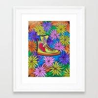 SNEAKER OF PEACE AND LOVE Framed Art Print
