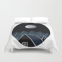 House At Night Duvet Cover