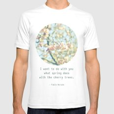 What the spring does to cherry trees SMALL Mens Fitted Tee White