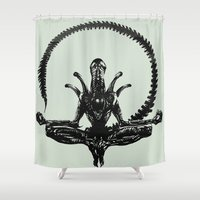 Meditation Alien Shower Curtain