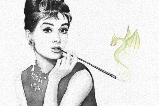Audrey Hepburn and Her Dragon Art Print