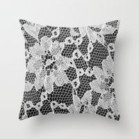 Black And White Laced Throw Pillow