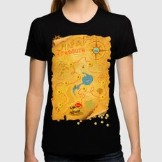 Treasure Map Womens Fitted Tee Black SMALL