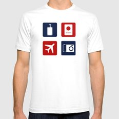 Travel Icons in RWB SMALL Mens Fitted Tee White