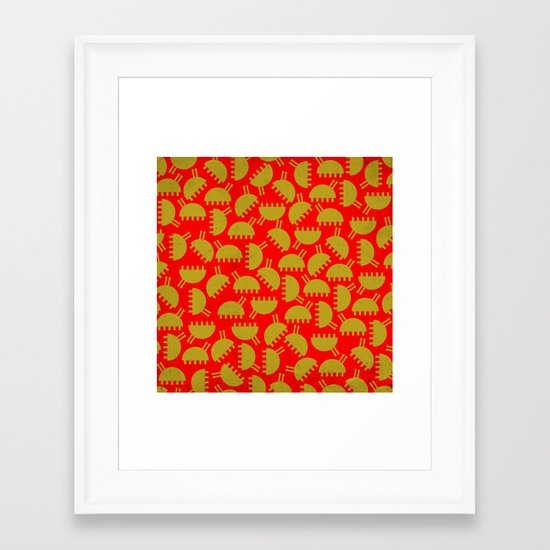 Happy green bugs on red. Framed Art Print