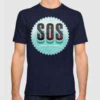 S O S Mens Fitted Tee Navy SMALL