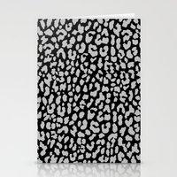 Gray Black Leopard Stationery Cards