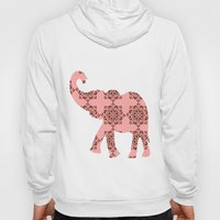 Floral Brown and Pink Elephant Hoody