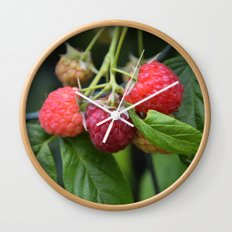 Raspberries Wall Clock