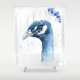 Shower Curtain - Peacock Watercolor Painting - Olechka