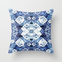 Blue Silk Tie-Dye Throw Pillow