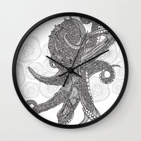 Octopus Bloom black and white Wall Clock