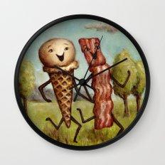 Bacon Loves Ice Cream Wall Clock