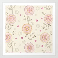 Folky Flowers Art Print
