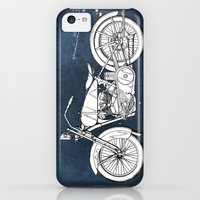 iPhone 5c Cases featuring Motor Cycle Harley Patent Art blue by jbjart