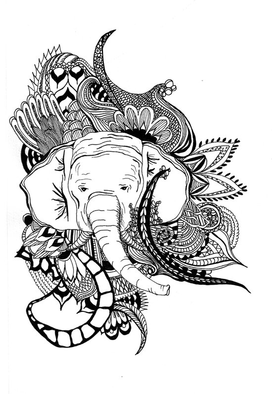 Inking Elephant Art Print
