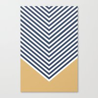 Gold & Navy Chevron Canvas Print