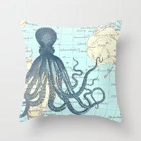 Map Octopus Throw Pillow