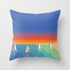 Sailing on the Beach Throw Pillow