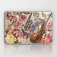 Vintage pink bohemian roses classical notes musical instruments Laptop & iPad Skin