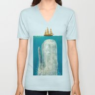 Unisex V-Neck featuring The Whale  by Terry Fan