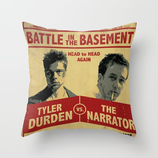 Fight Club Fight Poster Throw Pillow