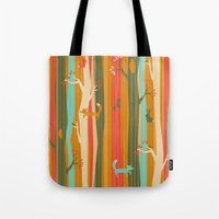 Woodland Stripe Orange Tote Bag