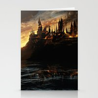 harry potter Stationery Cards featuring Harry Potter - Hogwart's Burning by Juniper Vinetree
