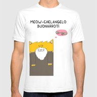 Meow-chelangelo Buonarro… Mens Fitted Tee White SMALL