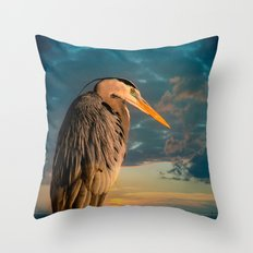Great Blue Heron and Blue Sunset Throw Pillow