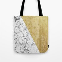 Marble Vs GOld Tote Bag