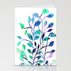 Shiny Silver Teal Leaves Stationery Cards