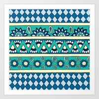 Mixed Stripes (Blue & Cr… Art Print