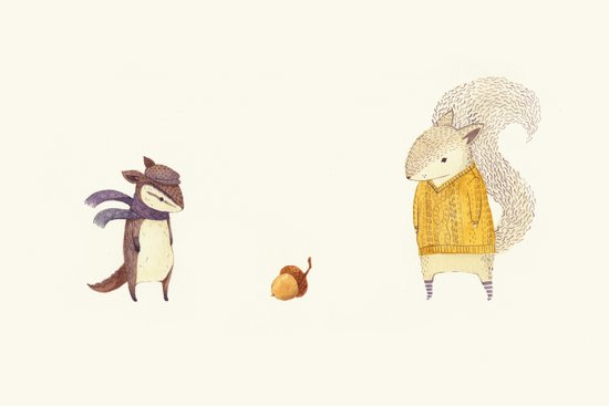 The Last Acorn of Autumn Art Print