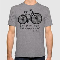 Learn to ride a bicycle. You will not regret it if you live. Mens Fitted Tee Athletic Grey SMALL