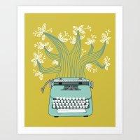 The Typing Tree Blue Art Print