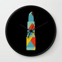 Lipstick Hues On Black Wall Clock